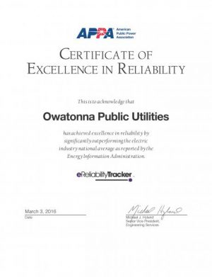 Owatonna Public Utilities Certificate